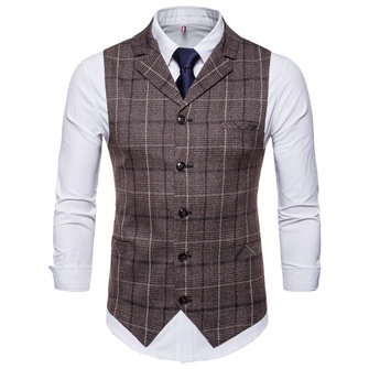 Plaid Printing Fashion Business Waistcoat Suit Vest for Men