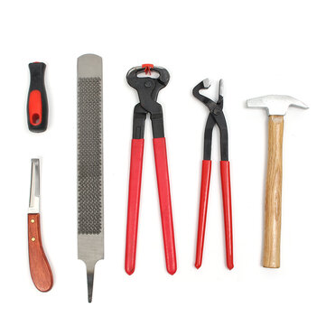 6 Pcs Farrier Tools Kit Hoof Trim Horseshoe Kit Hoof Nipper Rasp Cutter Clinch