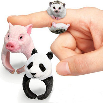 Cute Animal Cartoon Panda Dog Pig Tiger Parrot Finger Ring Jewelry for Men Women