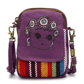 Women Chinese Style Canvas Shoulder Bags Girls Cute Mini Crossbody Bags 5.5'' Phone Bags