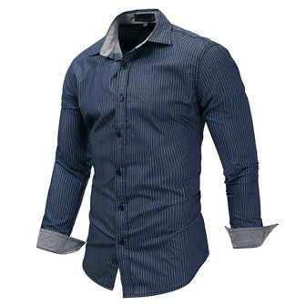 Casual Denim Long Sleeve Stripes Printing Designer Shirts for Men