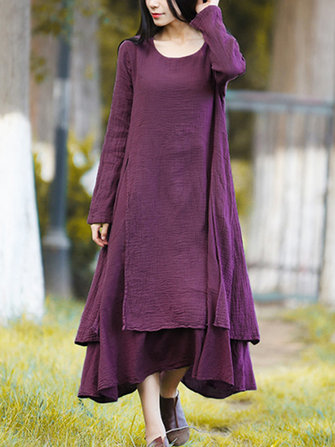 Vintage Women Double Layered Mid-long Dress