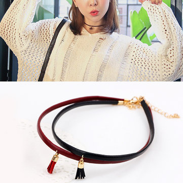 Leather Belt Short Collar Cord Tassel Collar Necklaces