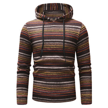 Mens Striped Printing Hooded Sweatshirts
