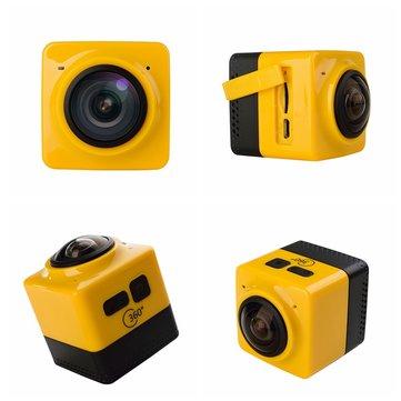 360 graus wi-fi mini câmera de esportes de ação panorama 720p 1280 * 1024 28fps câmera de vídeo grande angular