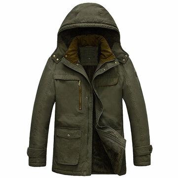 กำมะหยี่ Plus เสื้อกันหนาวหมวกหนาแบบหนาที่สามารถถอดออกได้ผู้ชาย Parkas