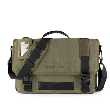 Men Canvas Multifunctional Big Capacity Outdoor 17.3 Inch Laptop Crossbody Bag Handbag