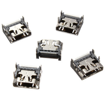 5 PCS 19 Pin HD Port Female Jack SMT Surface Mount Video Connector Type A Socket 4 Legs