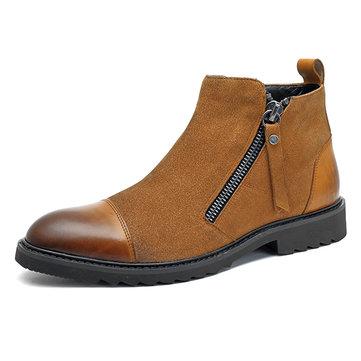 Heren Casual elegante cap teen suede lederen zijrits laarzen