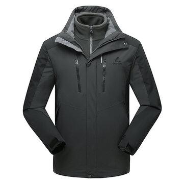 Mens 2 in 1 al aire libre Chaqueta de invierno con múltiples bolsillos, repelente al agua y repelente al agua