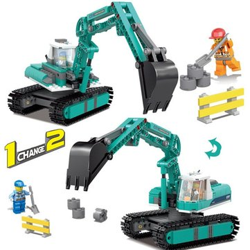 KAZI Excavator Building 1 Change 2 Blocks Set Compatible Legoed City Educational Gift Toy