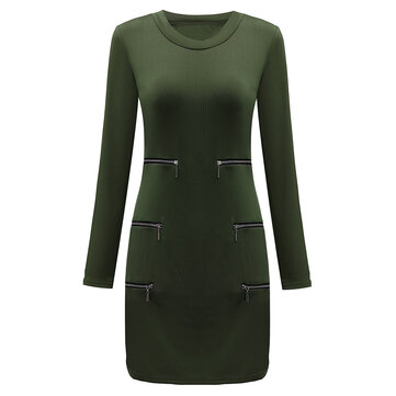 Sexy Women Long Sleeve Zipper Hollow Out Bodycon Party Mini Dress