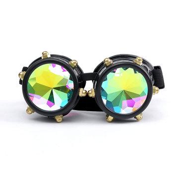 Festivals Rave Kaleidoscope Rainbow Glasses Prism Lense Steampunk Rivet