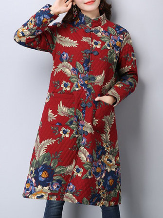 Plus Size Vintage Women Floral Printed Chinese Style Buckle Coat