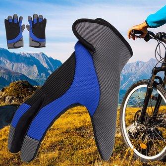 Guanti da guida filo fibra dita piene di spessore Skidproof Guanti da bicicletta Nylon maschio