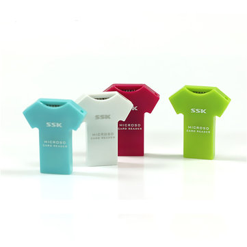 SSK SCRS052 T-shirt Shaped TF Micro SD USB 2.0 Card Reader Support 32G Memory Card