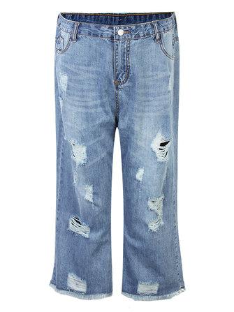CasualVrouwenLageTailleGescheurdeHolle Rechte Denim Jeans