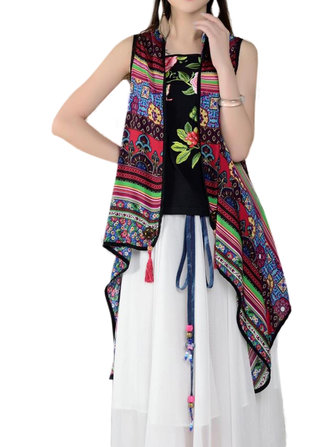 Ethnic Style Women Floral Printed High Low Chiffon Cardigan