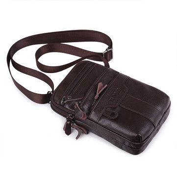 Men Genuine Leather Double Main Pockets Crossbody Bag Personalized Waist Bag