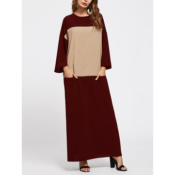 4 Color Women Patchwork Pockets Maxi Long Sleeve Dress