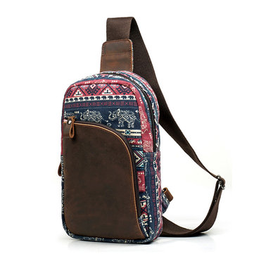 Men Retro Casual Genuine Leather Canvas Crossbody Bag