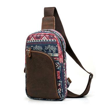 Men Retro Casual Genuine Leather Canvas Crossbody Bag Sports Chest Bag