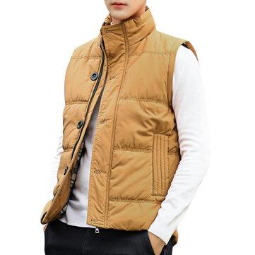 Mens Winter Button Zipper Placket Warm Light Padded Vest