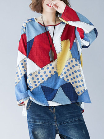 Casual Women Patchwork Long Sleeve Hign Low Hem Shirts - Casual-Women-Patchwork-Long-Sleeve-Hign-Low-Hem-Shirts , Casual Women Patchwork Long Sleeve Hign Low Hem Shirts , banggood.com