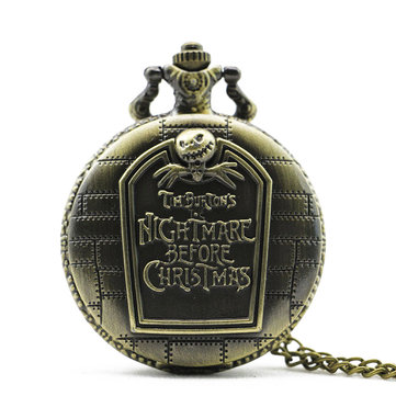 DEFFRUN Retro Nightmare Before Christmas Tomb Pattern Chain Quartz Pocket Watch
