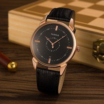 YAZOLE 396 Male Quartz Watch Luminous Leather Strap Simple Men Wrist Watch