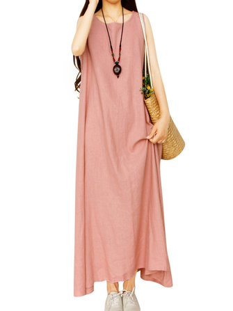 Women Pure Color Sleeveless Casual Maxi Dresses