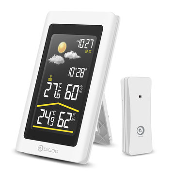 Digoo DG-TH11300NF Wireless HD Negative Color Screen USB Outdoor Weather Station VA Glass Hygrometer Thermometer Digital Forecast Sensor Humidity Temperature Sensor Clock - White