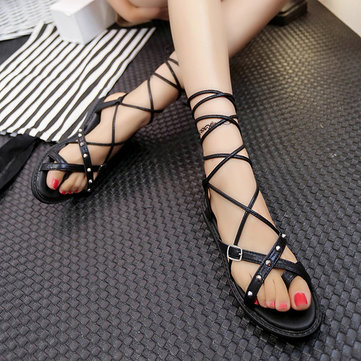 Women Summer Strappy Chic Sandals Breathable Flat Sandals Flip Sandals