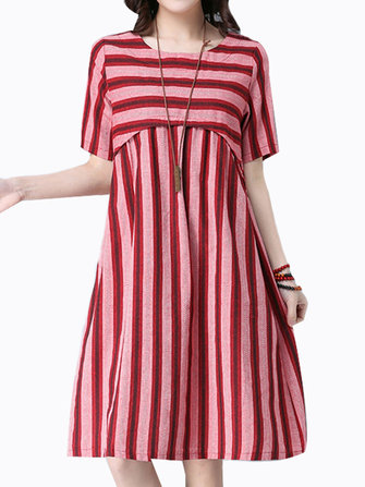 Women Vintage Striped Robes Robe courte à manches courtes en O-Neck A