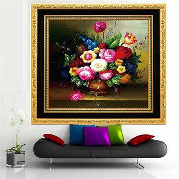 58x58cm DIY Flower Vase Oil Painting Cross Stitch Kit Embroidery Set Handcraft Home Decor