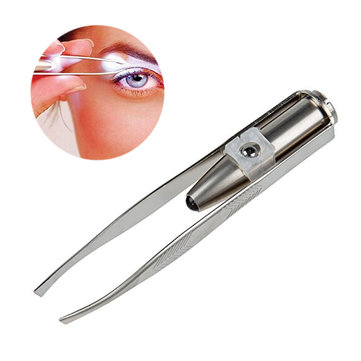 Stainless Steel LED Lighted Eyebrow Tweezers Eyelash Hair Removal Makeup Tool