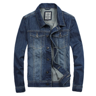 Mens Casual Fashion Denim Turn-down Collar Spring Autumn Jacket