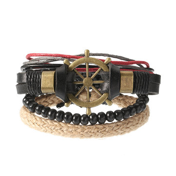 Punk Multilayer Hand Woven Bracelet Rudder Boat Anchor Beaded Bracelet Unisex Wholesale