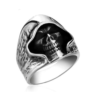 Men's Gothic Biker Ring Grim Reaper Skull Stainless Steel Punk Ring Gift for Men