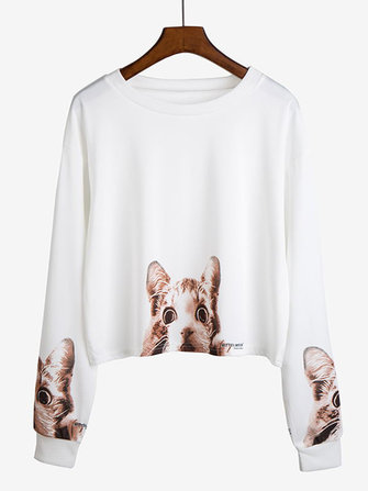 Casual Women Cat Printed Long Sleeve Short T-shirt
