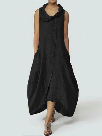 Women Sleeveless Turtleneck Casual Baggy Tunic Shirt Maxi Dress