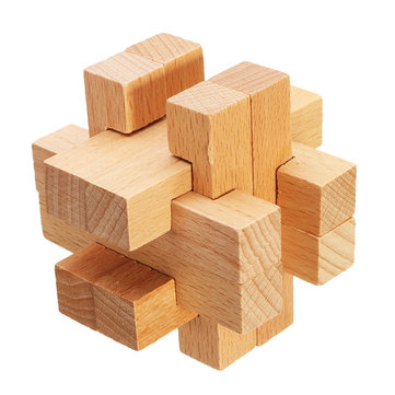 Kong Ming Lock Toys Children Kids Assembling 3D Puzzle Cube Challenge IQ Brain Wooden Toy