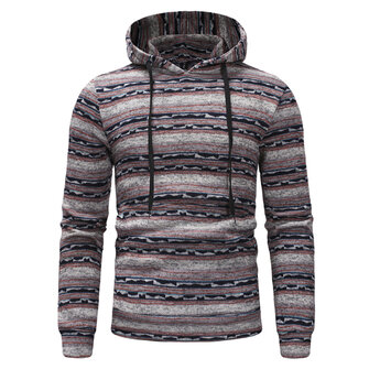 Mens Casual Striped Hooded