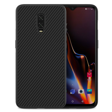 NILLKIN Carbon Fiber Shockproof Back Cover Protective Case with Metal Plate for OnePlus 6T
