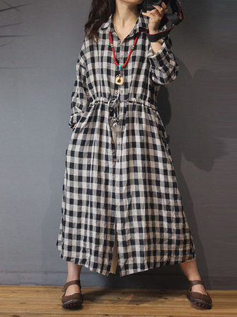 Plus Size Vintage Plaid Long Sleeve Pockets Shirt Dress for Women