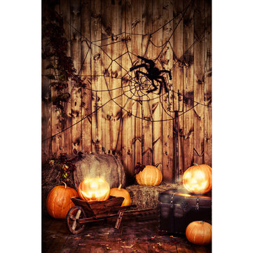 5x7FT Vinyl Halloween Spider Pumpkin Background Backdrop Photography Prop