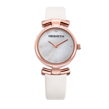 REBIRTH RE049 Simple Design Clock Women Wrist Watch Leather Strap Quartz Watches