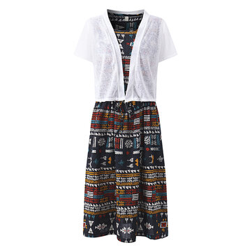 Floral Printed Short Sleeve O-neck Women Dresses With Cardigans