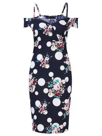 Sexy Off Shoulder Floral Strap Party Pencil Bodycorn Women Dress