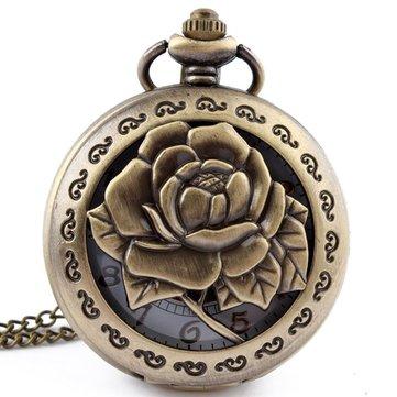 DEFFRUN Hollow Flower Pattern Simple Dial Chain Quartz Pocket Watch